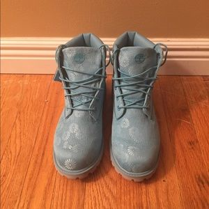 Aqua colored limited edition Timberlands